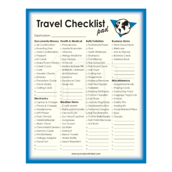 Travel Checklist Notepad